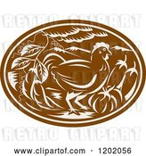 Vector Clip Art of Retro Brown Woodcut Chicken Oval with Vegetables by Patrimonio