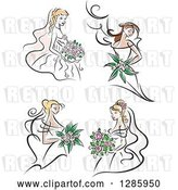 Vector Clip Art of Retro Brunette and Blond White Brides with Bouquets of Pink Flowers by Vector Tradition SM