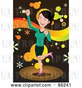 Vector Clip Art of Retro Brunette Busness Lady Doing a Happy Dance by Mayawizard101