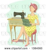 Vector Clip Art of Retro Brunette White Lady Sitting with a Box by a Sewing Machine by BNP Design Studio