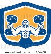 Vector Clip Art of Retro Buff Bodybuilder Lifting Heavy Weights in a Blue and Yellow Shield by Patrimonio