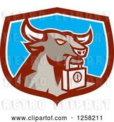 Vector Clip Art of Retro Bull with a Padlock in a Maroon White and Blue Shield by Patrimonio