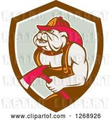 Vector Clip Art of Retro Bulldog Firefighter Holding an Axe in a Brown White and Gray Shield by Patrimonio