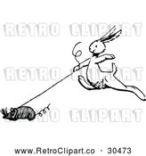 Vector Clip Art of Retro Bunny with a Toy Mouse by Prawny Vintage