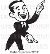 Vector Clip Art of Retro Business Man Pointing down and up by BestVector