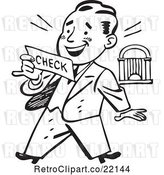 Vector Clip Art of Retro Business Man Reading a Check by BestVector