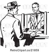 Vector Clip Art of Retro Business Man Talking to a Bank Teller by BestVector