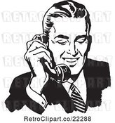 Vector Clip Art of Retro Business Man Using a Phone - 1 by BestVector