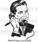 Vector Clip Art of Retro Business Man Using a Phone - 3 by BestVector
