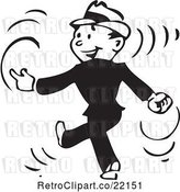 Vector Clip Art of Retro Business Man Walking and Snapping His Fingers by BestVector