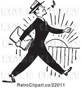 Vector Clip Art of Retro Business Man Whistling and Walking by BestVector