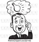 Vector Clip Art of Retro Business Man with a Light Bulb Idea by BestVector
