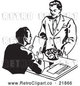 Vector Clip Art of Retro Businessman Discussing a Resume with an Applicant by BestVector
