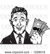 Vector Clip Art of Retro Businessman Holding Cash Money by Andy Nortnik