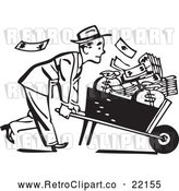 Vector Clip Art of Retro Businessman Pushing a Wheel Barrow of Cash to the Right by BestVector