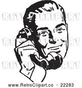 Vector Clip Art of Retro Businessman Using a Phone - 2 by BestVector