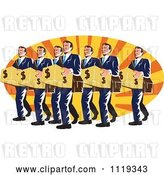 Vector Clip Art of Retro Businsesmen Bankers Carrying Dollar Boxes over Rays by Patrimonio