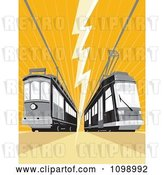 Vector Clip Art of Retro Cable Street Car Trams with an Electrical Bolt on Orange by Patrimonio