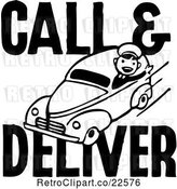 Vector Clip Art of Retro Call and Deliver Guy by BestVector