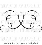 Vector Clip Art of Retro Calligraphic Butterfly Design Element by Frisko