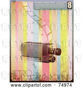 Vector Clip Art of Retro Camera with a Strip of Film over Rainbow Stripes with Sample Text and Grunge by Anja Kaiser