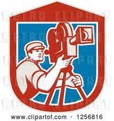 Vector Clip Art of Retro Cameraman Filming in a Red Blue and White Shield by Patrimonio