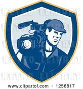 Vector Clip Art of Retro Cameraman Filming in a Yellow Blue and White Shield by Patrimonio