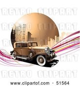 Vector Clip Art of Retro Car on Pink Waves in Front of an Urban Circle by