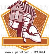 Vector Clip Art of Retro Carpenter Guy Carrying a House on His Shoulder over a Shield and Text Bar by Patrimonio