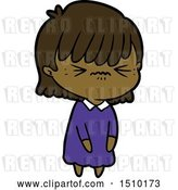 Vector Clip Art of Retro Cartoon Annoyed Girl by Lineartestpilot