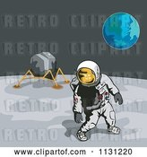 Vector Clip Art of Retro Cartoon Astronaut and Lunar Module on the Moon with Earth in the Distance by Patrimonio