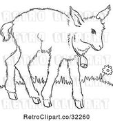 Vector Clip Art of Retro Cartoon Baby Goat with a Bell Line Drawing by Picsburg
