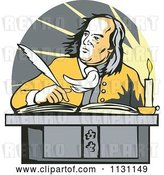 Vector Clip Art of Retro Cartoon Benjamin Franklin Writing at a Desk by Patrimonio