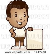 Vector Clip Art of Retro Cartoon Black Boy in Shorts, with a Blank Sign by Cory Thoman
