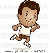 Vector Clip Art of Retro Cartoon Black Boy Running in Shorts by Cory Thoman