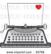 Vector Clip Art of Retro Cartoon Blank Piece of Paper in a Typewriter, a Little Red Heart in the Corner by Maria Bell