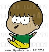 Vector Clip Art of Retro Cartoon Boy Sat Waiting by Lineartestpilot