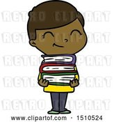 Vector Clip Art of Retro Cartoon Boy with Books Smiling by Lineartestpilot