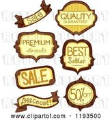 Vector Clip Art of Retro Cartoon Brown and Yellow Retail Store Product Labels by BNP Design Studio