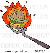 Vector Clip Art of Retro Cartoon Burger Cooking by Lineartestpilot