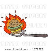 Vector Clip Art of Retro Cartoon Burger on Spatula by Lineartestpilot