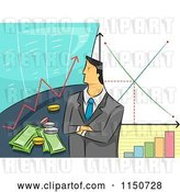 Vector Clip Art of Retro Cartoon Business Man with Stock Graphs and Financial Charts by BNP Design Studio