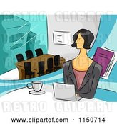 Vector Clip Art of Retro Cartoon Business Woman with a Laptop in an Office by BNP Design Studio