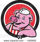 Vector Clip Art of Retro Cartoon Butcher Pig Leaning out of a Black White and Red Circle by Patrimonio