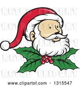 Vector Clip Art of Retro Cartoon Christmas Santa Claus Face over Holly and Berries by Patrimonio