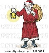 Vector Clip Art of Retro Cartoon Christmas Santa Claus Holding out a Lantern and Carrying a Bag by Patrimonio