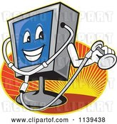 Vector Clip Art of Retro Cartoon Computer Monitor Mascot Holding a Diagnostics Stethoscope over Rays by Patrimonio