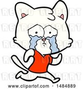 Vector Clip Art of Retro Cartoon Crying Cat by Lineartestpilot