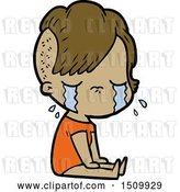 Vector Clip Art of Retro Cartoon Crying Girl by Lineartestpilot