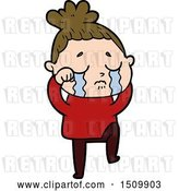 Vector Clip Art of Retro Cartoon Crying Lady by Lineartestpilot